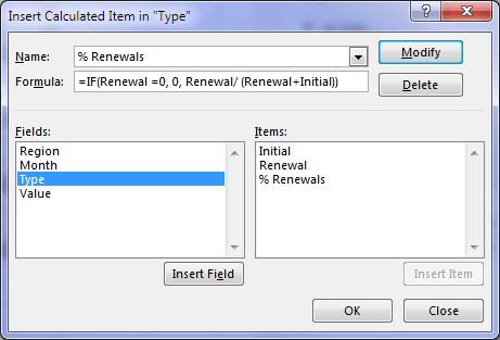 Insert PivotTable calculated item