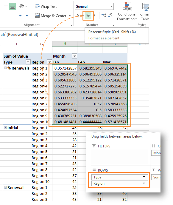 Format PivotTable calculated item