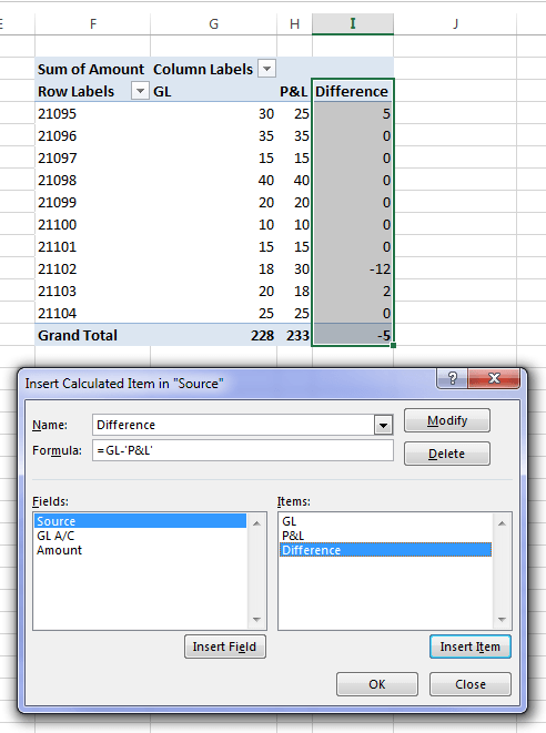 calculated item for reconciling account differences