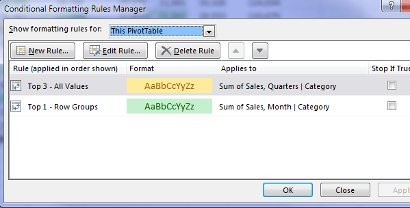 CF manager multiple rules