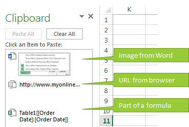 Excel Clipboard Pane