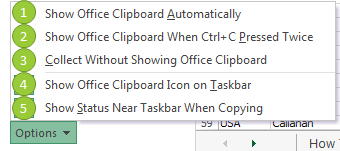 Excel Clipboard settings