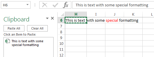 copy formatted text to the Excel Clipboard