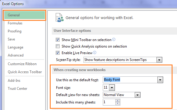 custom Excel Options