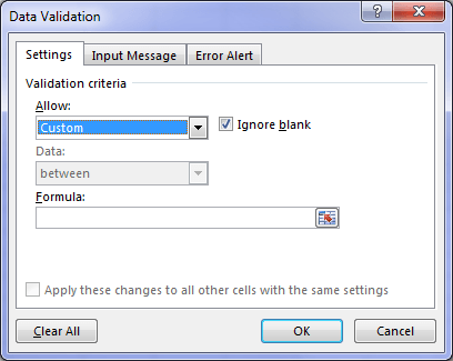 Data Validation settings