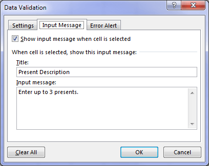 Data Validation message