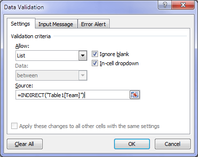 Excel Data Validation source Table
