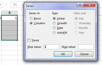 Excel fill series dialog box