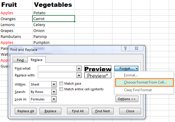 Excel find and replace formatting
