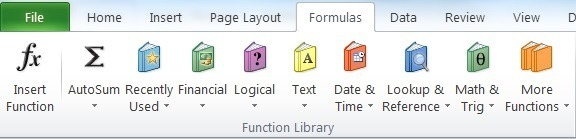 Excel Formulas on Toolbar