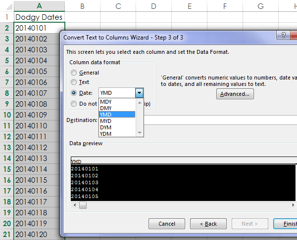 Excel text to columns wizard to fix dates formatted as text