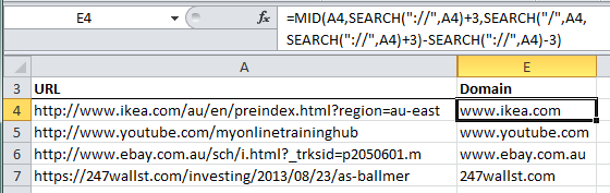 Extract domain from URL example using Excel Formulas