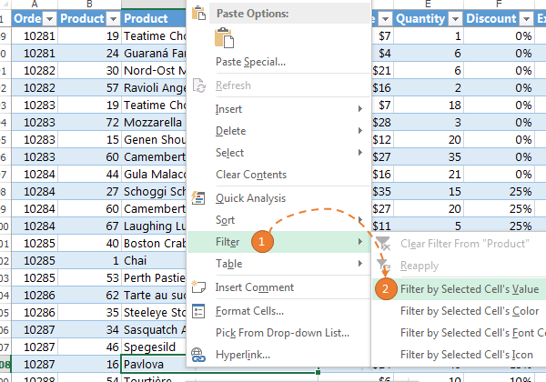 Excel Filter values