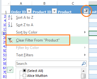 Excel unFilter drop down