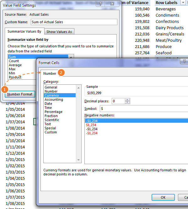 PivotTable Value Field Settings format numbers
