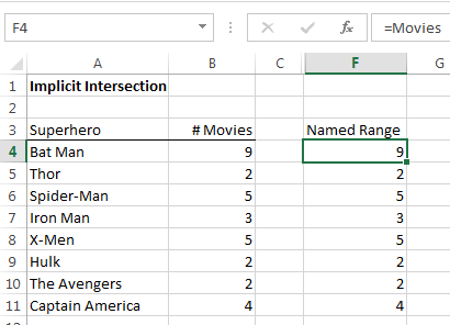Excel formula using named range with implicit intersection