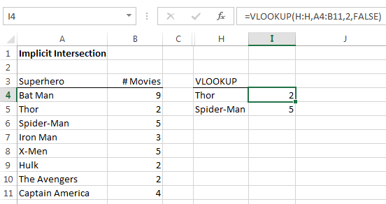 VLOOKUP formula using implicit intersection