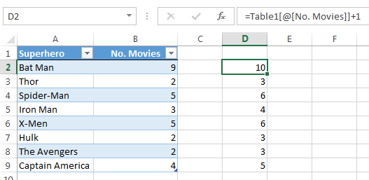 Excel table structured references
