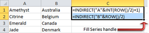 Excel INDIRECT function to merge two columns