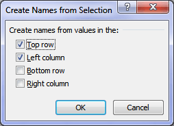 Excel intersect operator