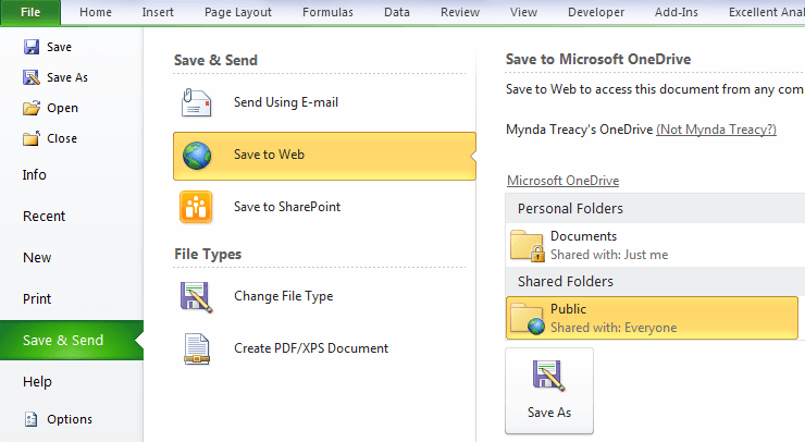 upload to onedrive from Excel 2010
