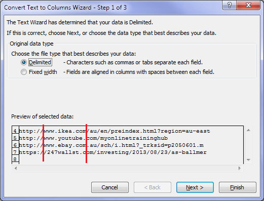 Excel Text to Columns Wizard Step 1
