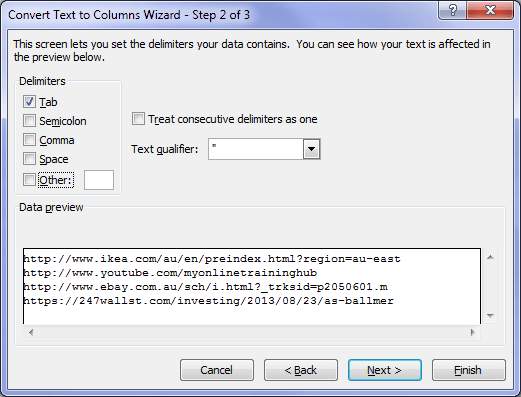 Excel Text to Columns Wizard Step 2