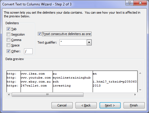 Excel Text to Columns Wizard Step 2 set delimiters