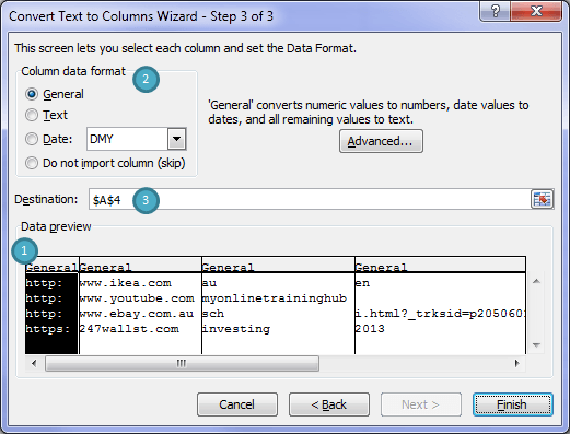 Excel Text to Columns Wizard Step 3