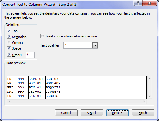Text to Columns multiple delimiters
