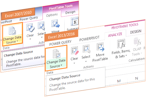 change PivotTable source data