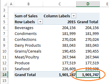 double click Grand Total to get pivottable source data