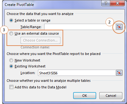 pivottable external source data