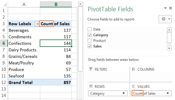 PivotTable default to sum instead of count