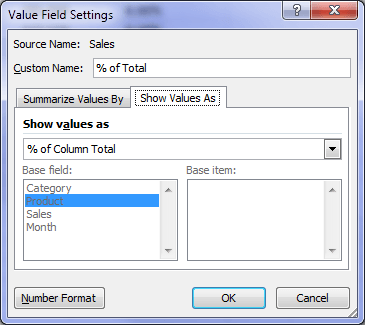 PivotTable percentage of column