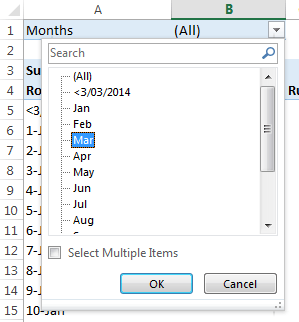 filter months in Pivot Table
