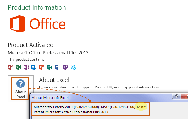 Find version in Excel 2013
