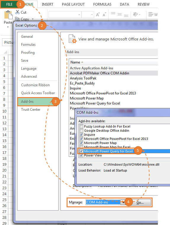 Power Query add-in Excel 2013