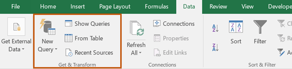 Power Query ribbon Excel 2016