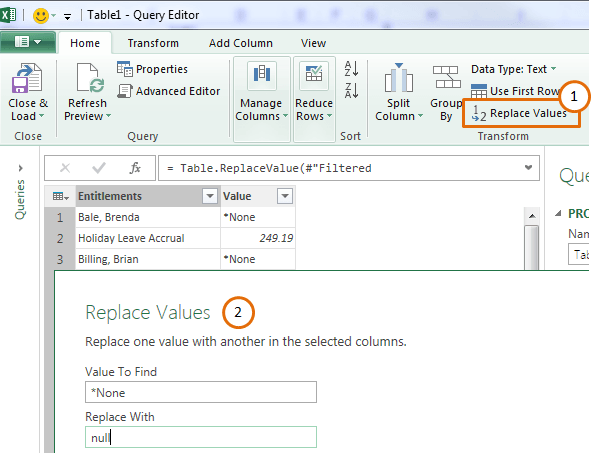 power query replace values