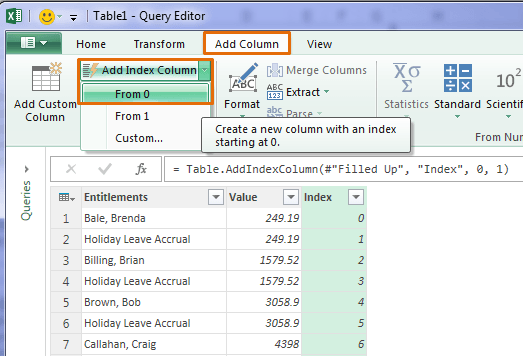 power query add index