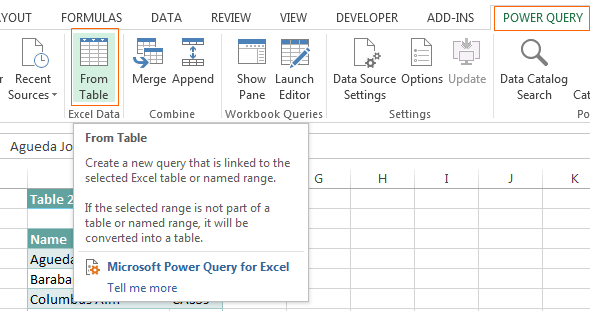 power query tab