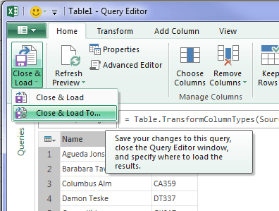 power query close and load to