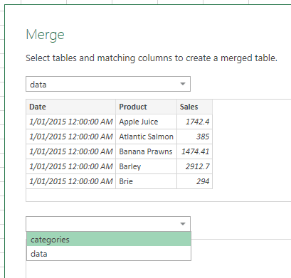 Excel Power Query VLOOKUP merge dialog box