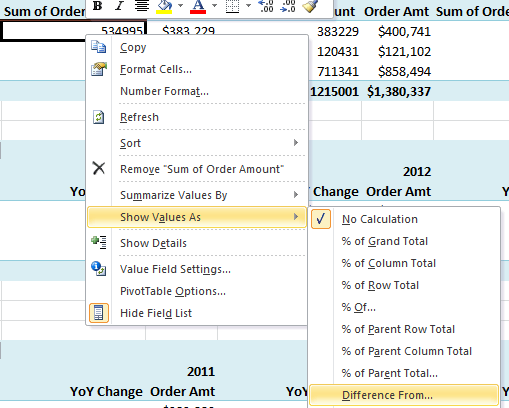 PivotTable show values as difference from