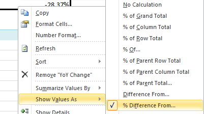 PivotTable percentage year on year change