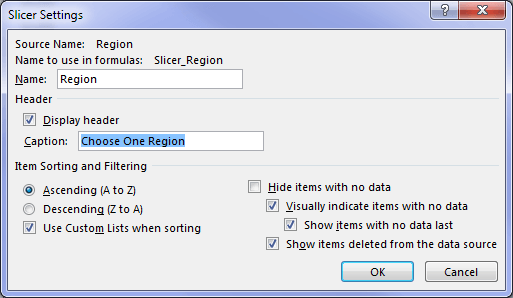 excel slicer settings