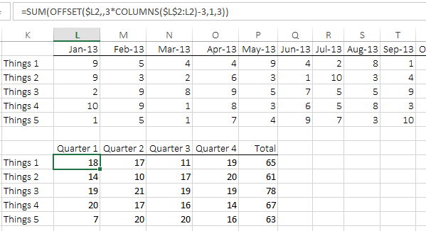 Excel formula to summarise mths into qtrs