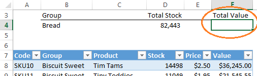 Excel Tables structured reference