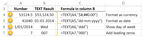 Examples of Excel TEXT formulas